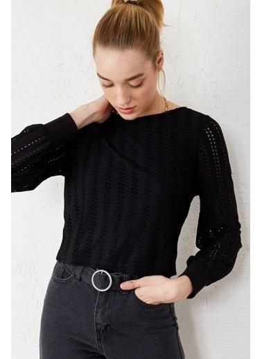 EKA Uzun Kol Kısa Bluz Siyah